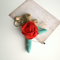 Men's Boutonniere, Wedding Boutonniere, Red and Aqua Wedding, Burlap Wedding, Groom's Boutonniere, Groomsmen, Red Wedding, Spring Wedding