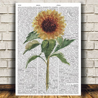 Flower decor Floral poster Watercolor print Dictionary print RTA1572