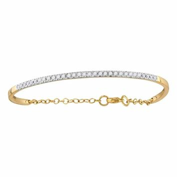 10kt Yellow Gold Womens Round Diamond Promise Bangle Bracelet 1-2 Cttw - FREE Shipping (US/CAN)