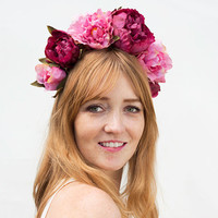 Pink Peony Flower Crown - Flower Headband, Frida Kahlo, Pink Flower Crown, Pink, Flower Headpiece, Floral Headband, Floral Crown, Peonies