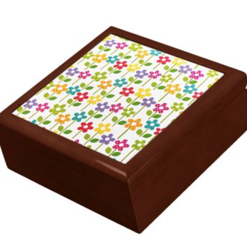 Keepsake/Jewelry Box - Small Flowers - Lacquer Box
