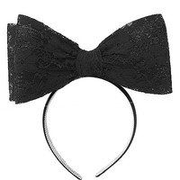 SIA STYLE OVERSIZED LACE BOW HEADBAND - BLACK