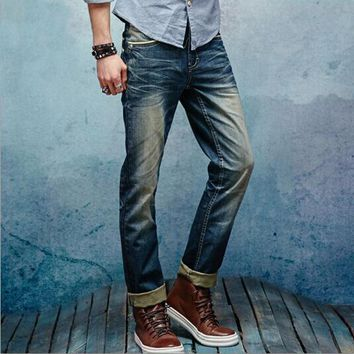 New Arrival Men Straight faded denim Jeans 2 STYLES