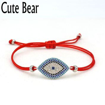 Cute Bear Brand Women Bracelet Micro Pave Zircon Blue Eye Lucky Red Thread String Braiding Bracelets Men Women Friend Best Gift