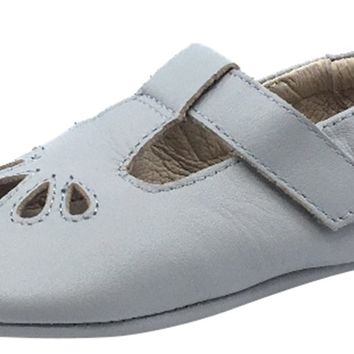 Old Soles Girl's 053 T-Petal Cut-Out Detail Grey Leather Mary Jane Flats