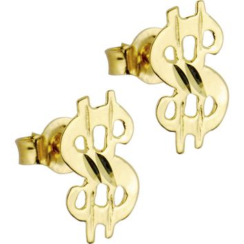 14kt Yellow Gold Dollar Symbol Stud Earrings