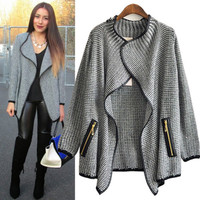 2014 New Fashion Womens Wool Cardigan Sweater Loose Long Trench Coat Jacket