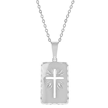 """925 Sterling Silver Cutout Square Medal Cross Pendant Necklace Teens Women 18"""""""