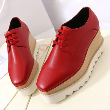 Black Nude Red Genuine Leather Lace Up Womens Creepers Wedge High Wooden Heels Stars Double Platform Square Toe Oxfords Shoes