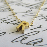 Gold Initial Necklace - Gold Letter Necklace - Tiny Initial Necklace - Delicate Gold Necklace - Simple Gold Jewelry