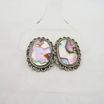 Vintage Alpaca Mexico Clip on Earrings, Abalone Clip on Earrings, Alpaca Mexico Jewellery