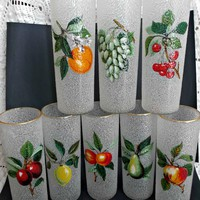 Eight Vintage Tom Collin's Glazed Fruit Cooler Zombie Glasses by W.V. Glass