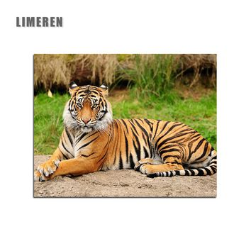 Frameless Pictures Tiger Drawing By Numbers Acrylic DIY Oil Canvas Paintings By Number For Living Room Wall Art Home Decor