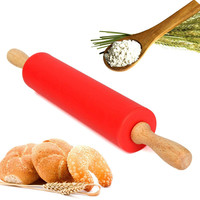 12 Inch Wooden and Silicone Rolling Pin - Bakeware Tool