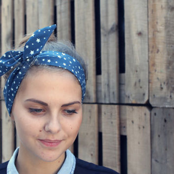 Star Print Wire Headband. Navy Blue Dolly Bow Hair Wrap. Dark Blue Twist Scarf.