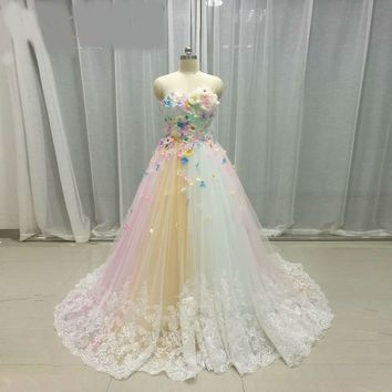 Multi color Wedding Dresses Tulle 3D flowers Bridal Gowns Rainbow Wedding Gowns