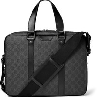 Gucci - GG Suprema Leather-Trimmed Coated-Canvas Briefcase | MR PORTER