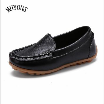 MHYONS 2018 New Fashion Kids shoes all Size 21-30 Children PU Leather Sneakers For Baby shoes Boys/Girls Boat Shoes Slip On Soft
