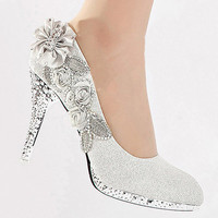 Silver Vogue lace Flowers Glitter Crystal High Heels Wedding Bridal Shoes