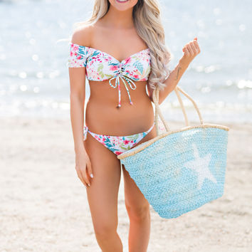 Beach Babe Off the Shoulder Lace Up Detail Top With Self Tie Cheeky Bottoms Floral Set (White)