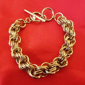muti links chain bracelet gold 10mm metal toggle womens mens unisex jewelry new