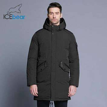 ICEbear new high quality winter coat simple fashion coat big pocket design men's warm hooded brand fashion parkas MWD18718D