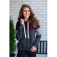 Relaxed & Cool Color Block Hoodie : Maroon