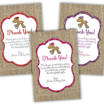 Burlap Oh Deer Baby Shower Thank You Cards - Glitter Woodland Baby Shower Thank You Tags - Thank You Card Girl Baby Shower - Party Favor Tag