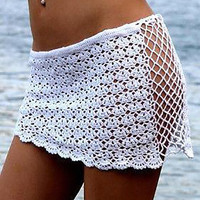 Lace Knitted Beachwear Short Swimwear Cover Ups Skirt