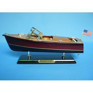 Wooden Chris Craft Triple Cockpit Model Speedboat 14""