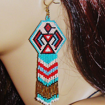 Native American Inspired Thunderbird Design Beaded Fringe Dangle Earrings/Phoenix Rising Earrings/Seed Bead Earrings/Boho Earrings