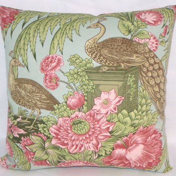 "Peacock Toile Pillow, Pink Green Blue Brown, Golding Cantata, 17"" Square Cotton, Zipper Cover Only or Insert Included, Ready to Ship"