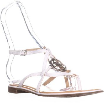 G by GUESS Romie Open Toe Casual Ankle Strap Sandals, White, 8.5 US