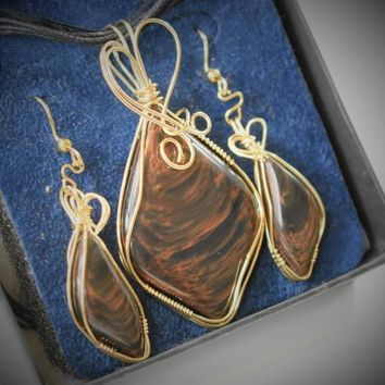 Stunning Gold Sheen Obsidian Pendant & Earring Set in 14k Gold-Filled Wire Wrap