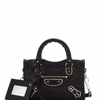 Balenciaga Metallic Edge Nano City AJ Crossbody Bag, Black