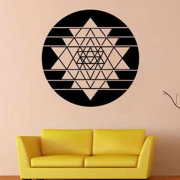 Vinyl Wall Decal Sticker Sri Yantra Circle #OS_MB1254