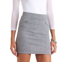 Quilted Bodycon Mini Skirt by Charlotte Russe - Charcoal
