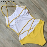 RXRXCOCO Yellow One Pieces Swimsuit Women Halter Handage Swimwear Female Padded Monokini Sexy Solid Bathing Suit Swimming Suit