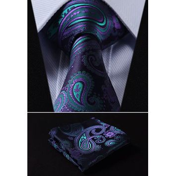 Men's Silk Coordinated Tie Set - Purple Teal Paisley