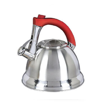 Gibson Mr. Collinsbroke 2.4qt Stainless Steel Tea Kettle with Red Handle