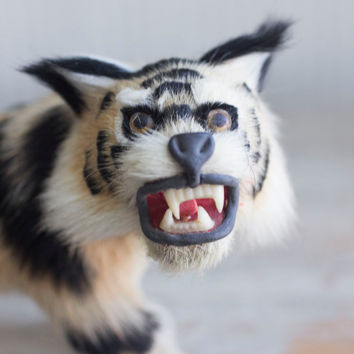 Vintage Fur Taxidermy Style Lynx Bobcat Cat Figurine