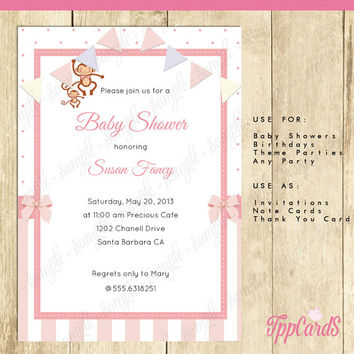 Instant Download Pink Monkey Baby Shower Invitations Editable Pdf, DIY 5x7 Printable Monkey Invitation for Girl, AUTOFILL enabled