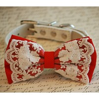 Lace Red Dog Bow Tie, Pet wedding accessory, Red Wedding accessory, Dog Lovers, Victorian wedding