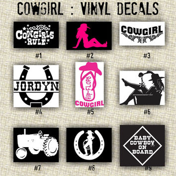 COWGIRL vinyl decals | country western | country girl | car decals | car stickers | laptop sticker - 1-9