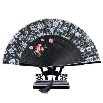 Cotton Cloth Folding Fan Woman      black