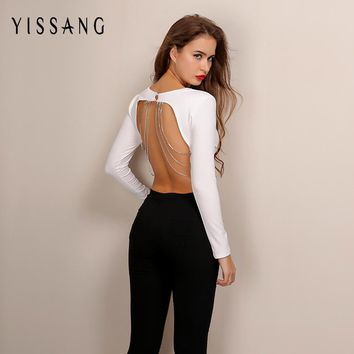 Yissang 2017 Autumn New White Backless T Shirt Kylie Jenner Sexy Chain Long Sleeve Shirt Winter Vintage Women Crop Top Blusa