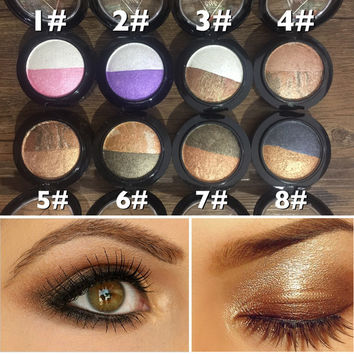 New Brand Makeup Waterproof Pigment Glitter Eyeshadow Palette 2 Color Metallic Baked Single Eye Shadow Powder Palette Make Up