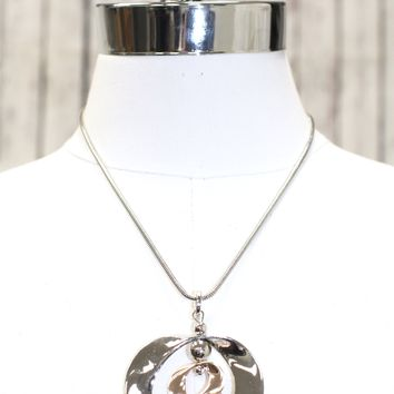 Two Curved Circles Pendant Necklace