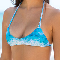 The Girl and The Water - Mikoh Swimwear - Uluwatu Bikini Top / Underwater Sea - $100