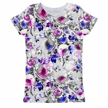 Floral Touch Zoe Grey & Pink Print Cute Designer Tee - Girls